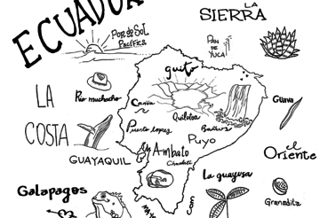 Ecuador map doodle
