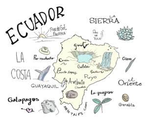 Ecuador map color aquarel